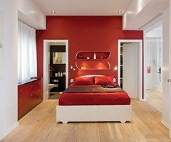 Interior design with a combination of red and white in a small
