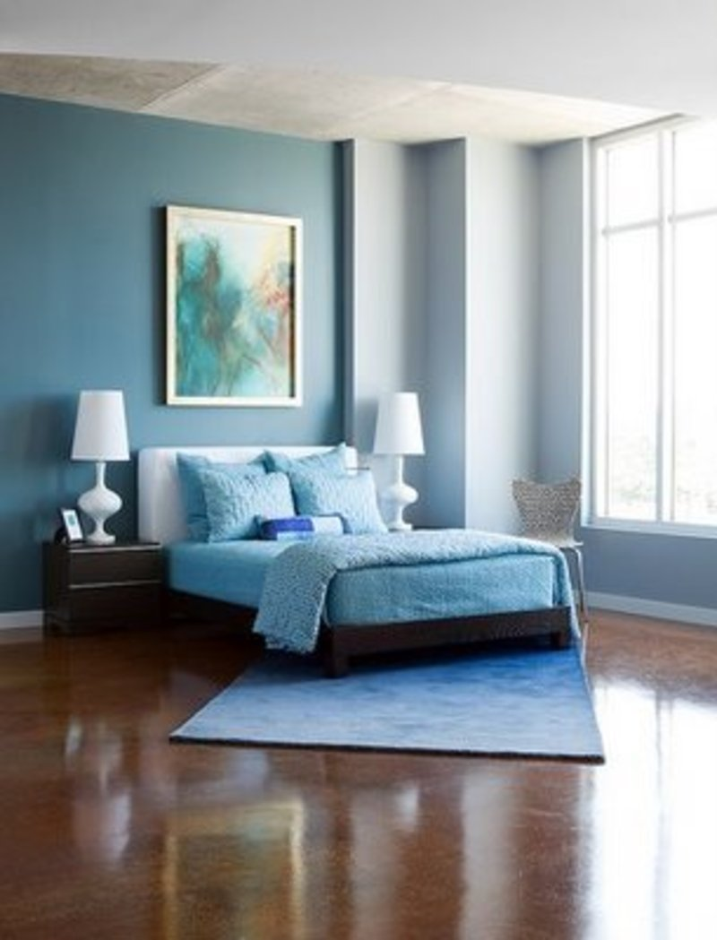 Modern cute blue and brown bedroom interior decoration for Bedroom color schemes