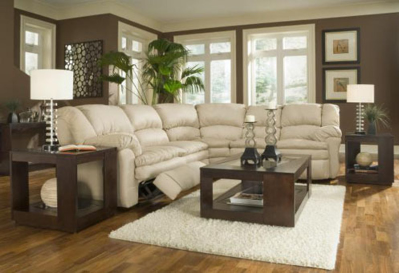 Cream beige living room ideas with sofa and brown leather ottoman