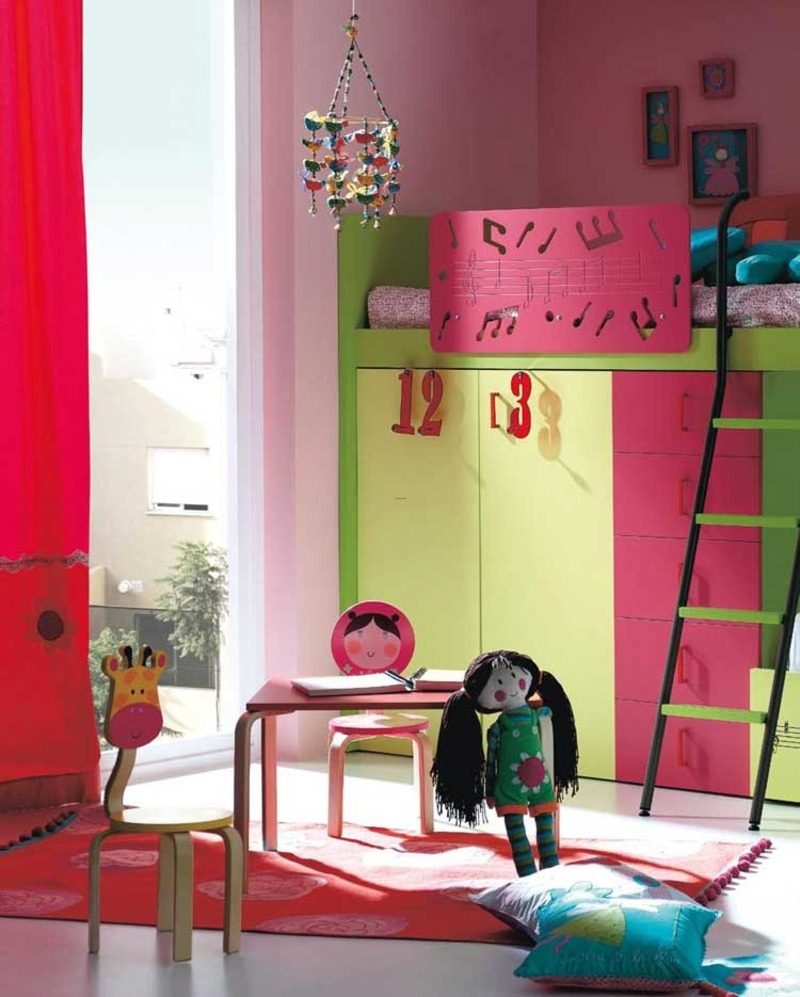 Modern nursery and kids room furniture ideas pink and for Pink and green kids room