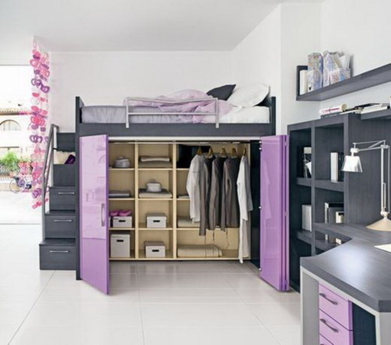 Girls Bedroom with Loft Bed Ideas 800 x 707