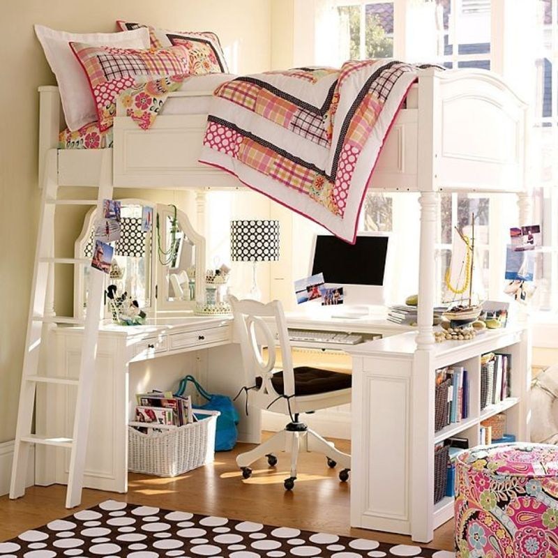 Girls Loft Bed Ideas, Loft Bed/Desk Plans Inspired By The Pb Chelsea ...