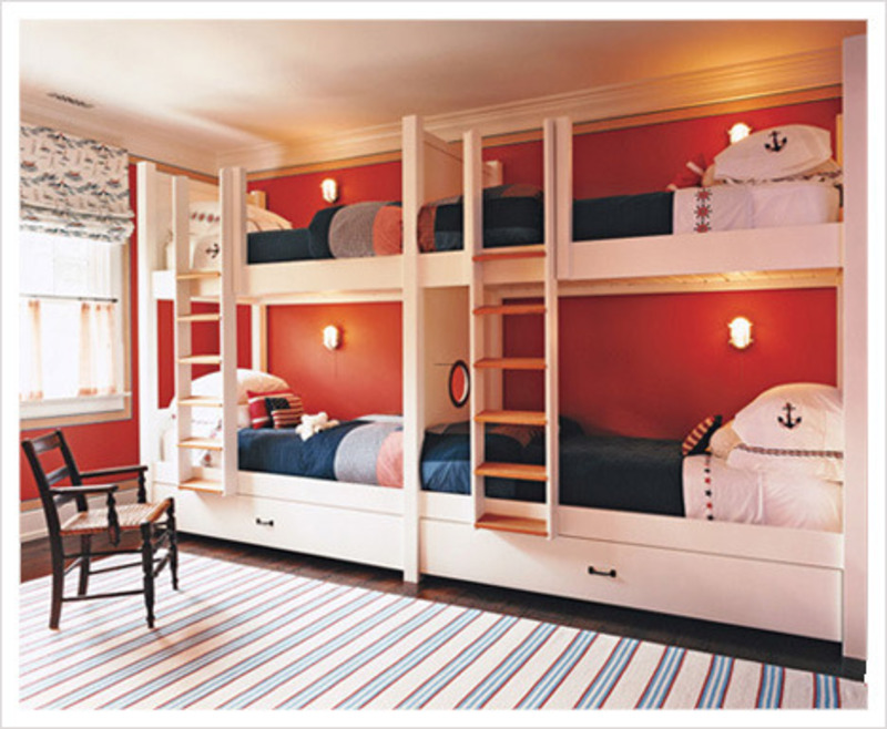 Kids bedroom decorating ideas using loft bed with cool Bunk room designs