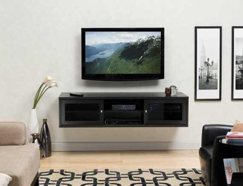 Euro style flat panel tv install with wall mounted cabinet for Wall mounted tv cabinet design ideas