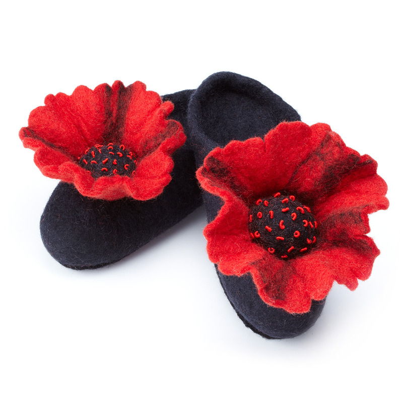 Unique Gifts For Christmas 2011, Wool Felted Poppy Slippers