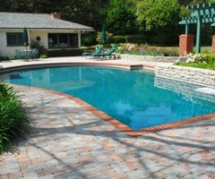 Swimming Pool Design With Deck Stone In Giant Yard
