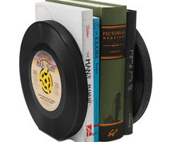 Recycled Record Bookends   Set Of 2