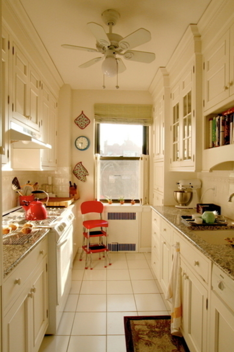 Design dilemma galley kitchens that work design for Small white galley kitchen ideas