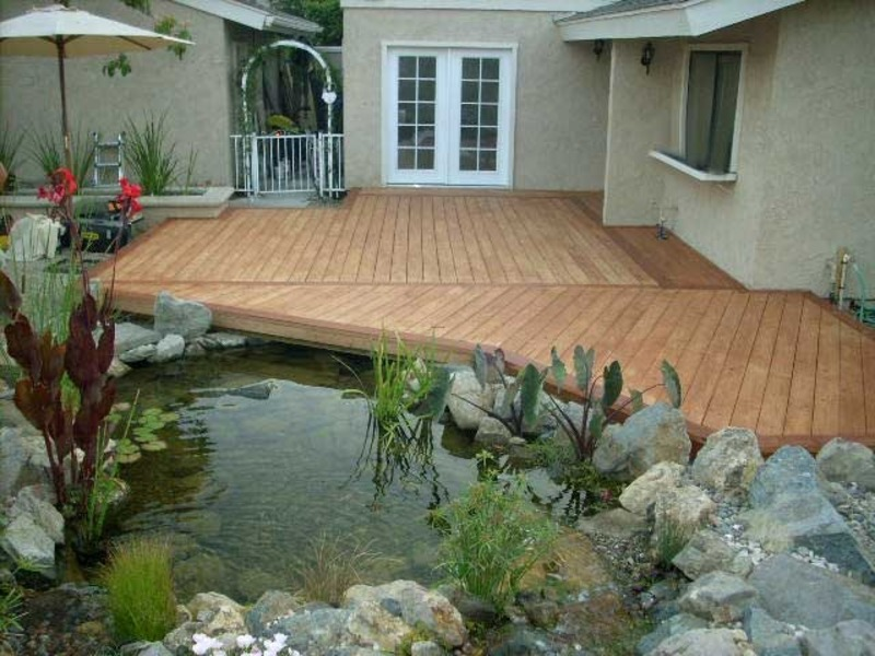 Peace meditation nearby beautiful koi fish pond design for Koi pond deck