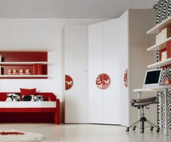 Blend Colour Of Red, White And Black  To  Kids Bedroom Decorating Modern