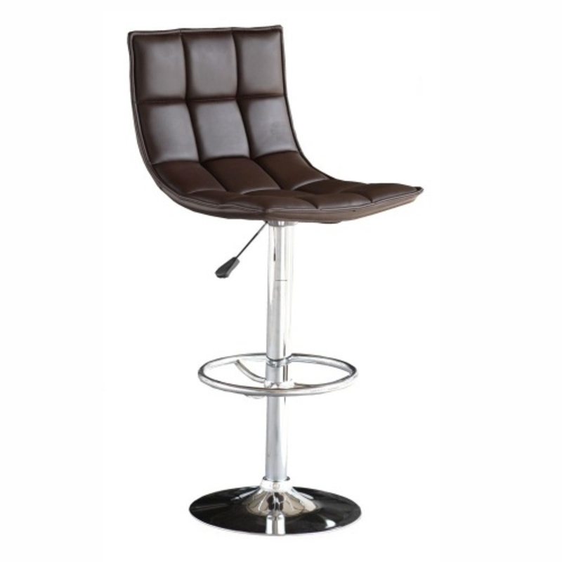 Chaise de bar chocolat simili cuir design for Chaise de bar violet