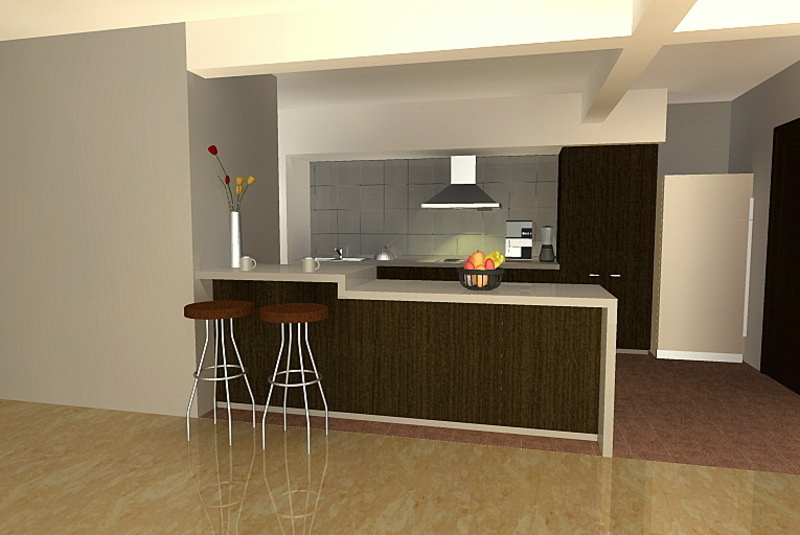 Modern kitchen setup with counter top island cabinet for Kitchen setup designs