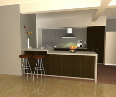 Modern Kitchen Setup With Counter Top Island Cabinet