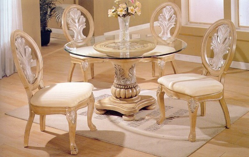 5 Pc Antique White Wood Round Glass Top Dining Table Living Room Collection