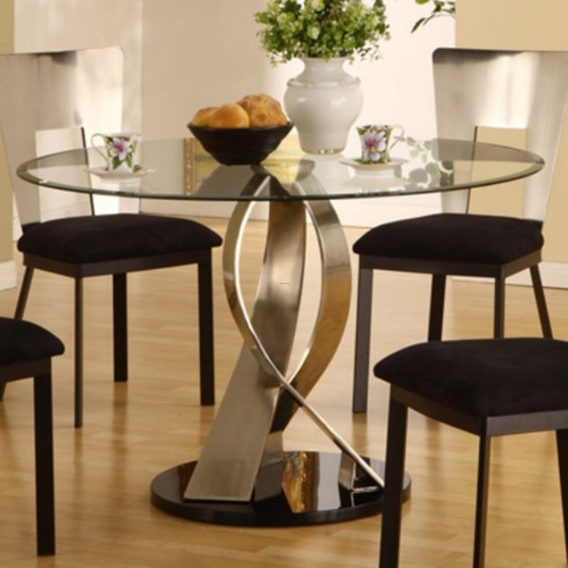 Twisted Satin Table With Round Glass Top Design Bookmark 13216