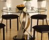 Twisted Satin Table With Round Glass Top
