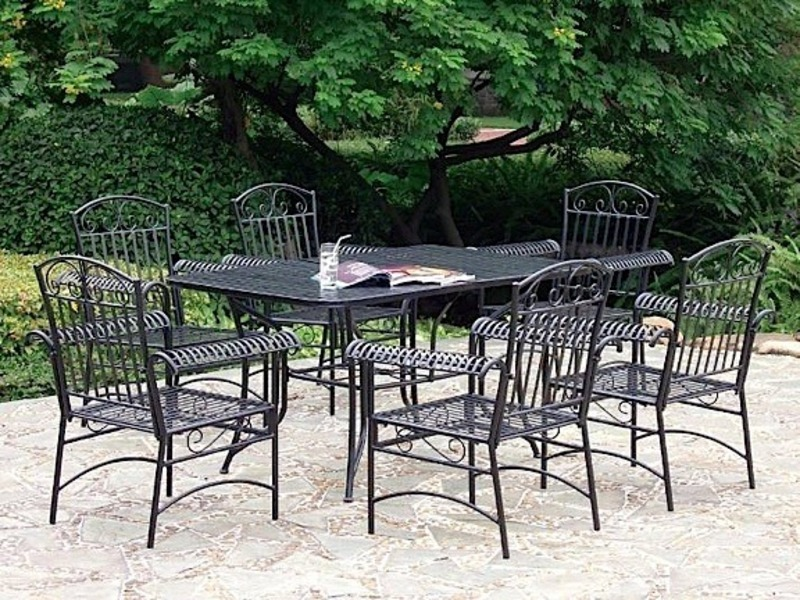 7 Piece Tropico Iron Patio Furniture Set 3494 By International Caravan At