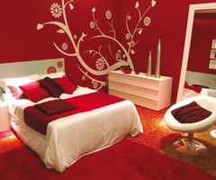 Bedroom Decorating Ideas With Calm Red Paint Colours