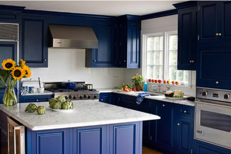 Blue kitchens 10 bright ideas design bookmark 13283 for Brightly painted kitchen cabinets