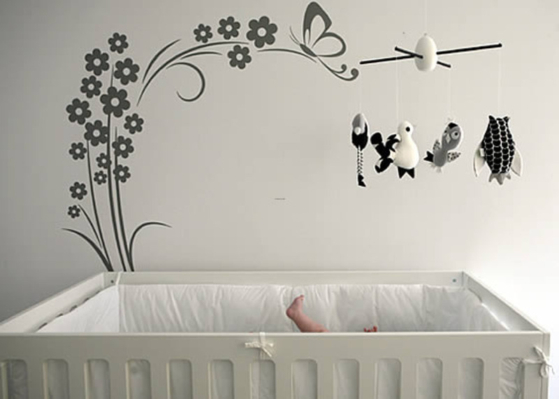 Contemporary nursery wall decals tree design butterflies for Butterfly wall mural stickers