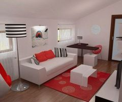 Red, Black And White For Contemporary Bedroom