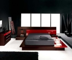 Contemporary Red And Black Bed Room Design Ideas > Bedroom Furniture Design > My Furniture Showroom.Net