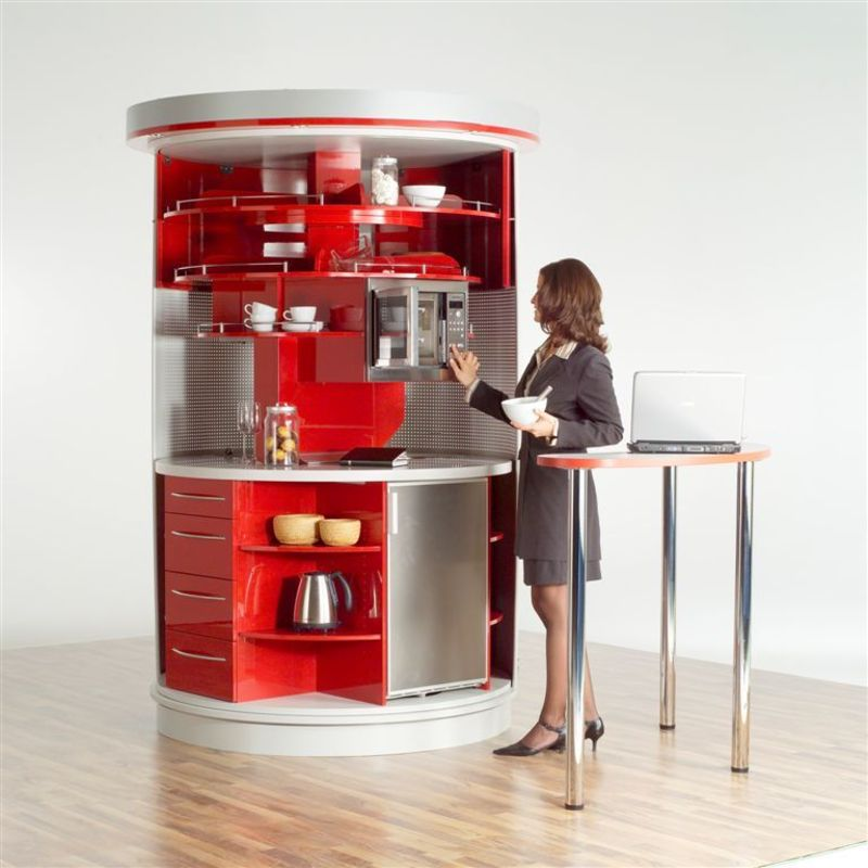 additional table for red and white circle kitchen from compa