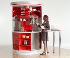 Additional Table For Red And White Circle Kitchen From Compact Concepts