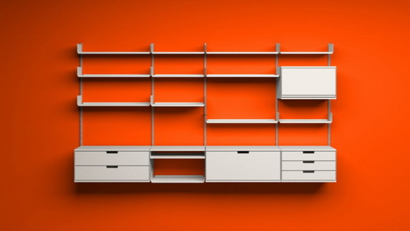 Modern Bedroom Ideas With Orange Wall Shelves Picture