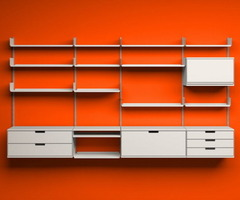 Modern Bedroom Ideas With Orange Wall Shelves Picture – Make The Bedroom Interior Attractive With Wall Mounted Shelves – Bedroom Interior Design