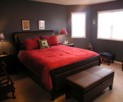 Red And Black Color Bedroom Decorations Style On Living Room