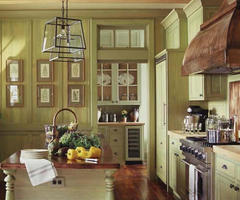 Green/Yellow Painted Traditional Wood Kitchen Cabinets