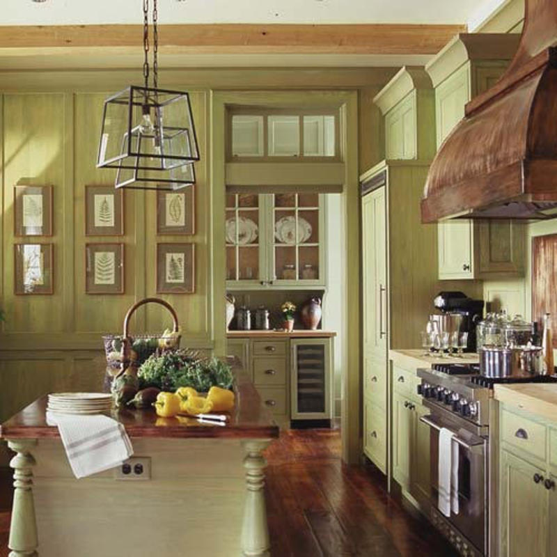 Green yellow painted traditional wood kitchen cabinets for Green country kitchen ideas