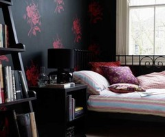 Black Bedroom Wallpaper In Luxurious Design Concept Black Bedroom Wallpaper And Red Flower Image  Apartment Interior Design