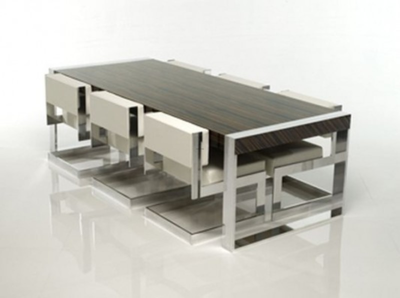 Aluminum frames minimalist modern dining table and chair for Modern dining table and chairs