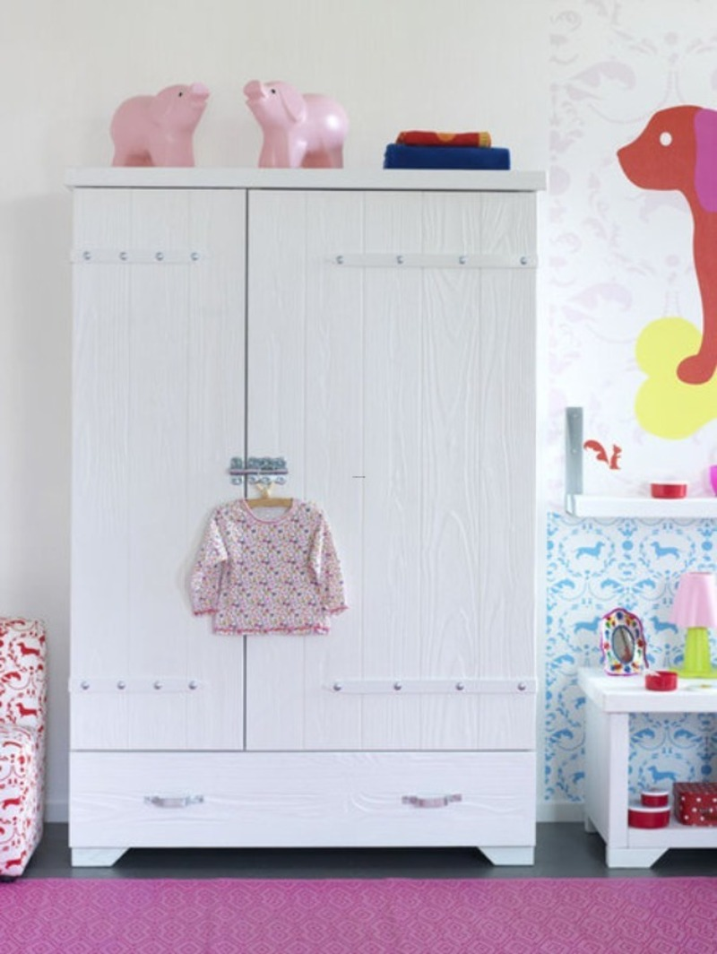 Wardrobe Designs For Kids, Stylish Awesome And Great Wardrobe Models Of Cute Kids Bedroom Design In White Finish