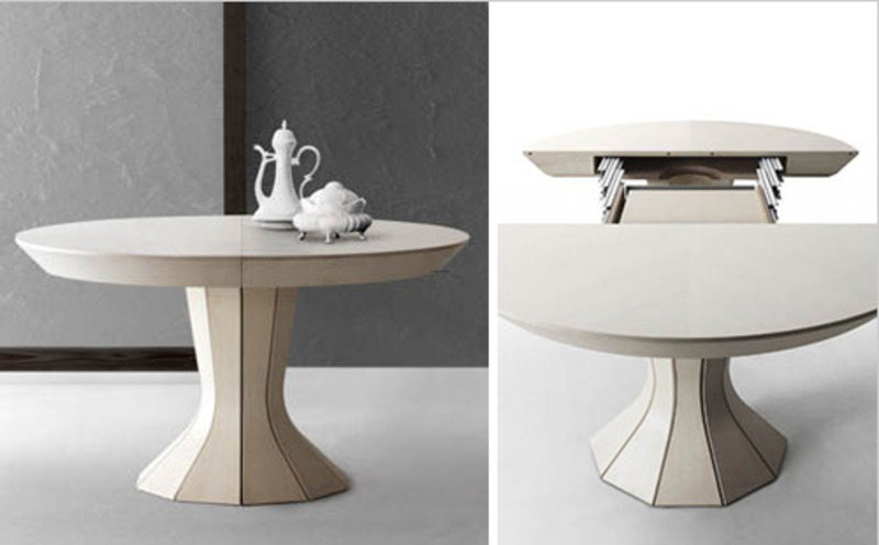Round expandable dining table modern opera by bauline for Buy expanding round table