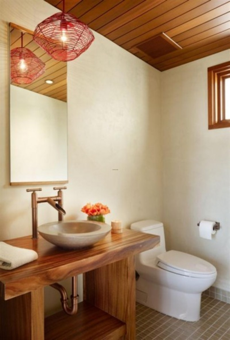 Contemporary natural tropical house design idea on a small for Small wc design