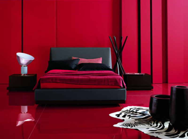 Modern Black Furniture In Red Room Design Bookmark 13666