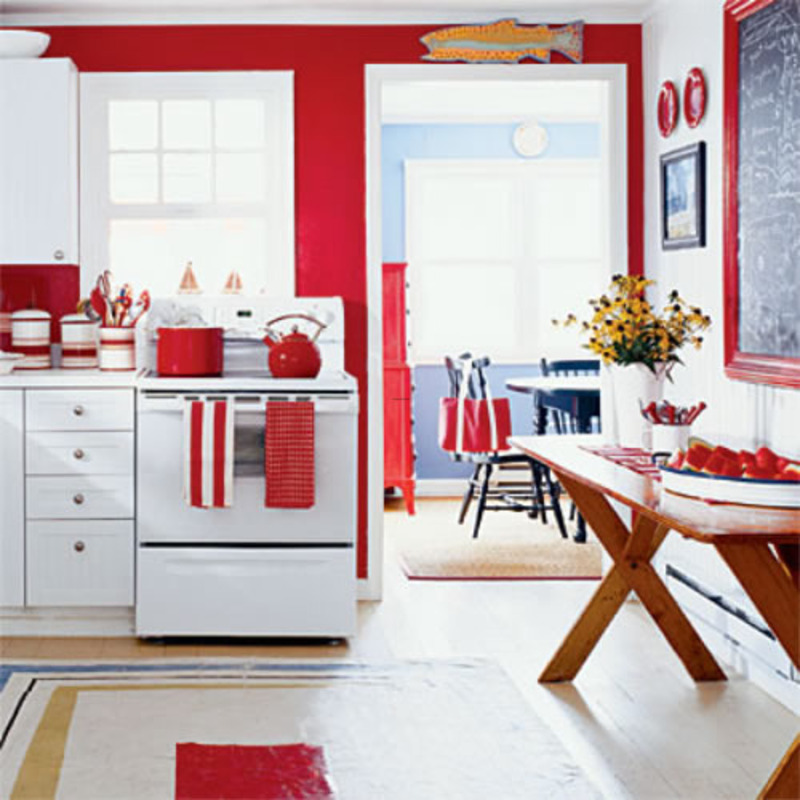 Red kitchen decorating ideas home interior design ideas for Kitchen ideas white cabinets red walls