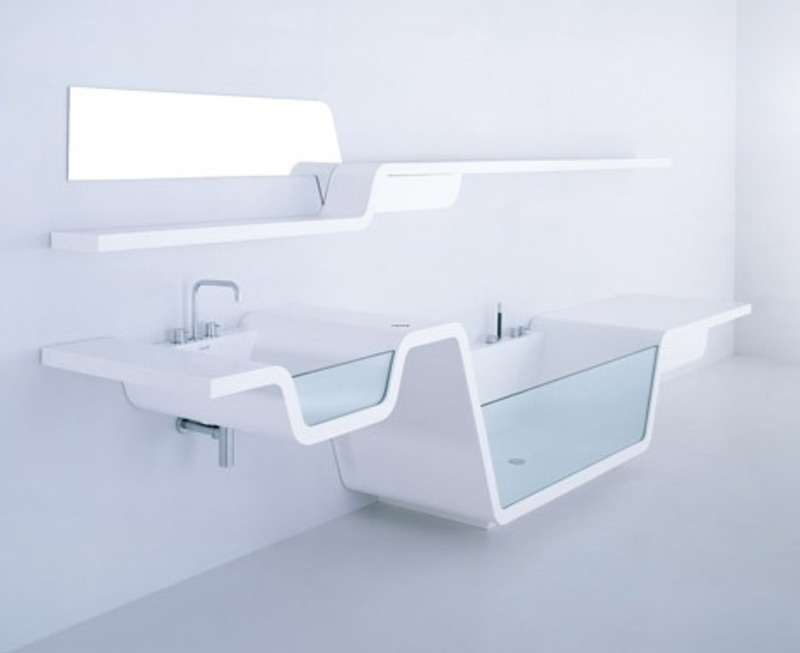 Integrated bathroom interior and fixture design design for Ultra modern bathroom designs