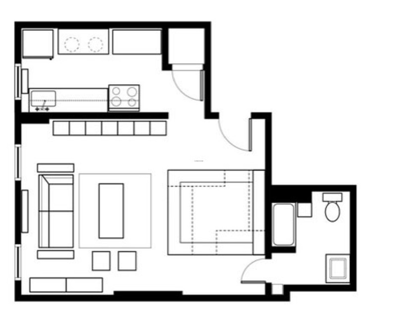 5 smart studio apartment layouts design bookmark 13840 for Room design blueprint