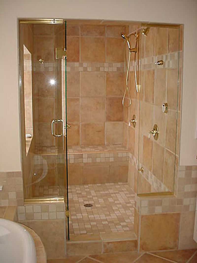 Best bathroom remodel using shower enclosures with heavy for Bathroom designs glass