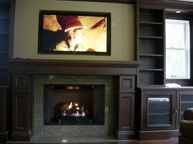 Tv above fireplace design bookmark 13909 for Tv over fireplace