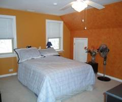 Sponge Painted Bedroom Walls With Orange Accents
