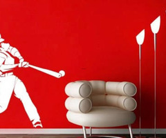 Homerun Baseball Stickers For Walls :  Dezign With A Z, Reusable Wall Decals