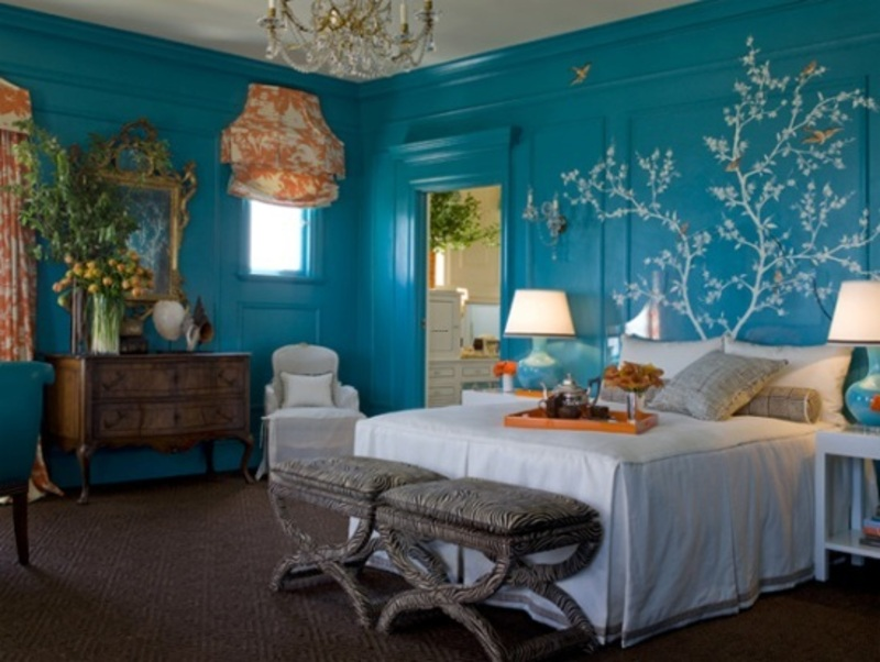 blue and orange bedroom walls design bookmark 14089