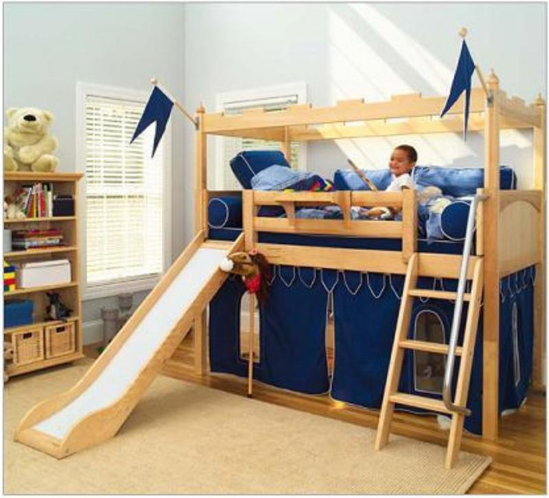Kids Bunk Bed Loft Design, Bunk Bed With Slide: Kid'S Camelot Castle Twin Bunk Bed