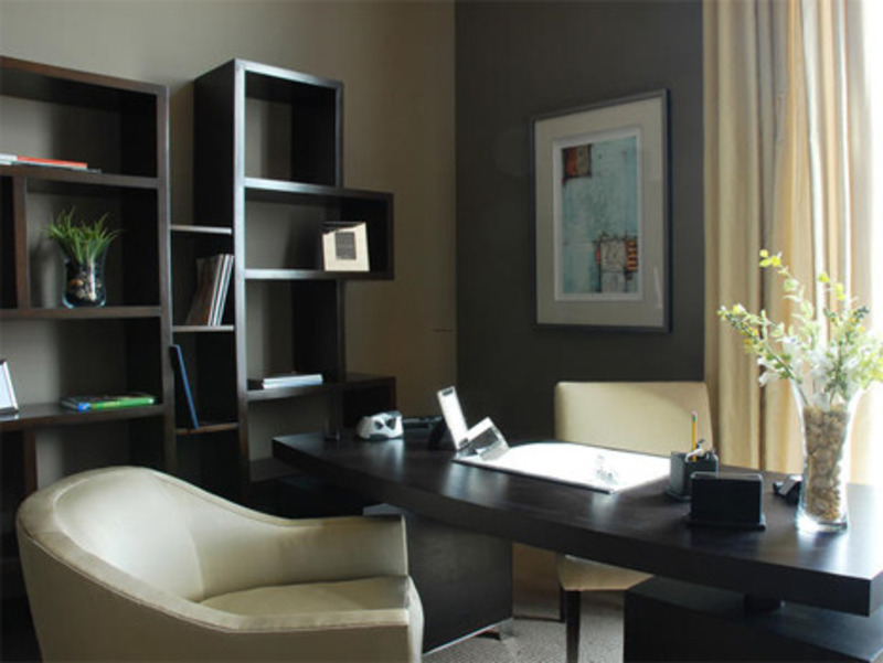 Contemporary Home Offices, Natural Wood Furniture In Contemporary Home Office By Ammie Kim