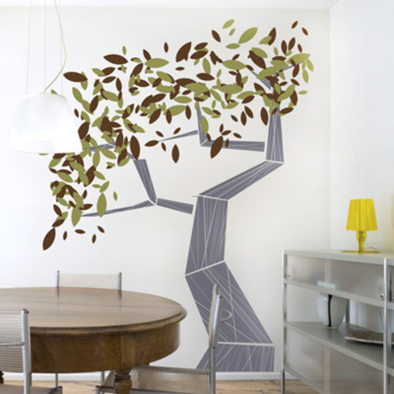 Decals For Walls, Modern Tree Wall Decal With Style Accents